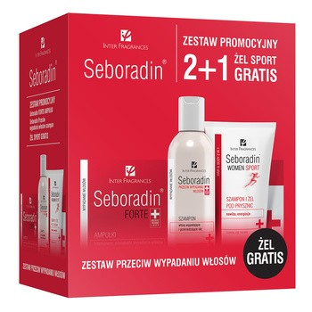 Zestaw Promocyjny Seboradin, szampon, 200 ml + płyn, 5,5 ml, 14 ampułek + żel pod prysznic, 150 ml GRATIS