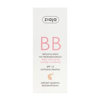 Ziaja BB, aktywny krem na niedoskonałości, skóra normalna/sucha/wrażliwa, odcień opalony, 50 ml