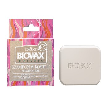 Biovax Botanic, szampon w kostce Malina Moroszka i Baicapil, 82 g
