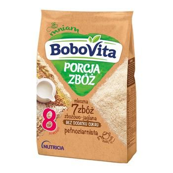 BoboVita Porcja Zbóż, kaszka mleczna 7 zbóż, zbożowo-jaglana, pełnoziarnista, 8 m+, 210 g