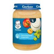 Gerber, owocowy krem z jogurtem, 6 m+, 190 g