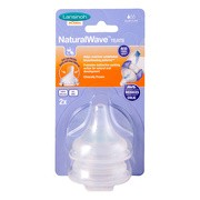 Lansinoh Natural Wave, smoczek na butelkę, przepływ wolny, 2 szt.