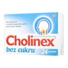 Cholinex, 150 mg, pastylki do ssania (bez cukru), 24 szt.