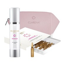 Zestaw Promocyjny Clarena Rosacea Anti-Redness, krem wyciszający, 50 ml + serum terapia szokowa, 10 ampułek + kosmetyczka GRATIS