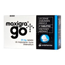 Maxigra Go, 25 mg, tabletki do rozgryzania i żucia, 4 szt.