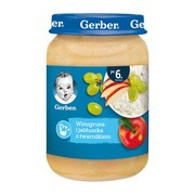 Gerber Deserek Mleczny, winogrona i jabłuszka z twarożkiem po 6 miesiącu, 190 g