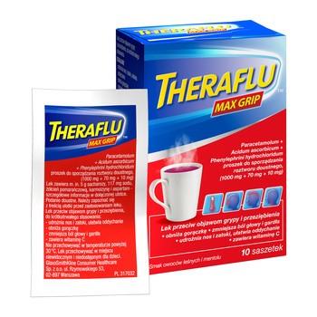 Theraflu Max Grip, 1000mg+70mg+10mg, proszek do sporządzania roztworu doustnego w saszetkach, 10 szt.