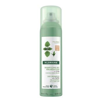 Klorane, suchy szampon z wyciągiem z pokrzywy, do włosów ciemnych, 150 ml