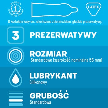 Durex Classic, prezerwatywy ze środkiem nawilżającym, 3 szt.