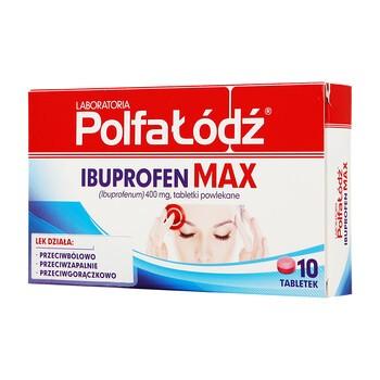 Laboratoria Polfa Łódź Ibuprofen Max, 400 mg, tabletki powlekane, 10 szt.