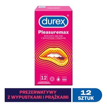 Durex Pleasuremax, prezerwatywy ze środkiem nawilżającym, 12 szt.
