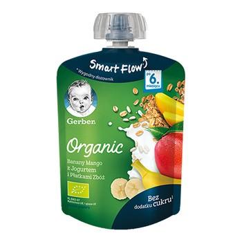 Gerber Organic, mus banan mango jogurt płatki zbóż, 6 m+, 90 g