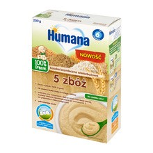Humana 100% Organic, kaszka bezmleczna, 5 zbóż, po 6 miesiącu, 200 g