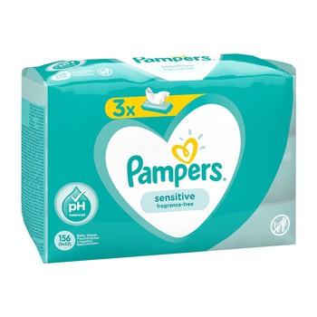 Pampers Sensitive, chusteczki nawilżane dla niemowląt, 3 x 52 szt.