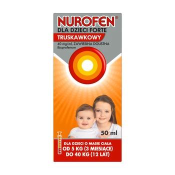 Nurofen Forte dla dzieci, 40 mg/ml, zawiesina doustna o smaku truskawkowym, 50 ml