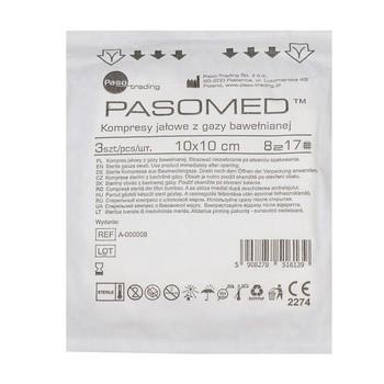 Kompresy gazowe, jałowe, 17-nitkowe, 8-warstwowe, 10 x 10 cm, 3 szt. (Pasomed)