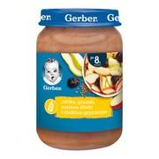 Gerber, deserek jabłka, gruszki, suszone śliwki z kleikiem gryczanym, 8 m+, 190 g