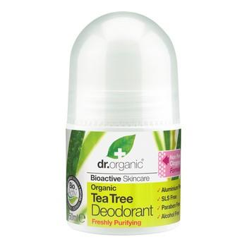 Dr. Organic Tea Tree, dezodorant z olejkiem z drzewa herbacianego, roll-on, 50 ml