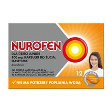 Nurofen dla dzieci Junior, 100 mg, kapsułki do żucia, elastyczne, 12 szt.