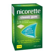Nicorette Classic Gum, 4 mg, guma do żucia, 105 szt.