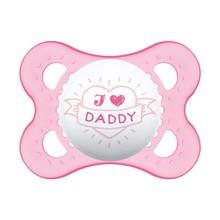 MAM Silk Teat, smoczek uspokajający, silikonowy, Love & Affection, Daddy, 2-6 m, girl, 1 szt.