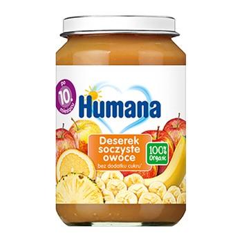 Humana 100% Organic Deserek soczyste owoce, bez dodatku cukru, 10 m+, 190 g
