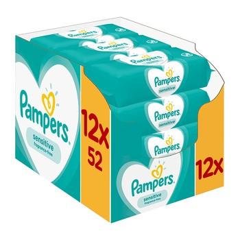 Pampers Sensitive, chusteczki nawilżane dla niemowląt, 12 x 52 szt.