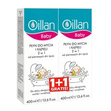 Oillan Baby, płyn do mycia i kąpieli 2w1, 400ml x 2 opak.