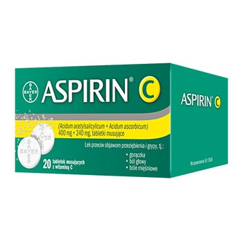 Aspirin C, 400 mg + 240 mg, tabletki musujące, 20 szt.