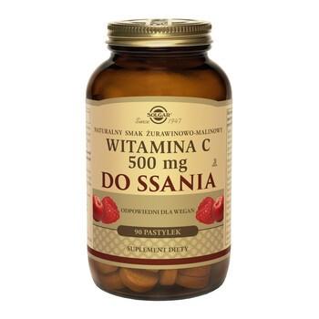 Solgar Witamina C, pastylki do ssania, smak żurawinowo-malinowy, 90 szt.