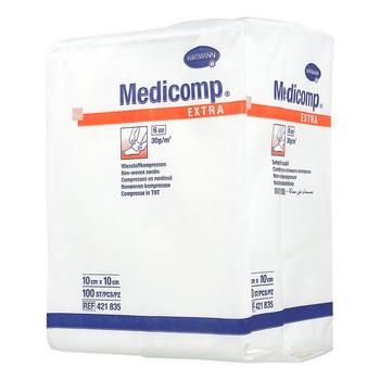 Kompresy włókniste niejałowe Medicomp Extra, 6 warstwowe, 10 cm x 10 cm, 100 szt.