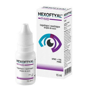 Hexoftyal PHMB, łagodzące i nawilżające krople do oczu, 15 ml