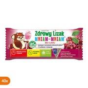 Zdrowy Lizak Mniam-Mniam na koncentrację i odporność, smak wiśniowy, lizaki, 40 szt.