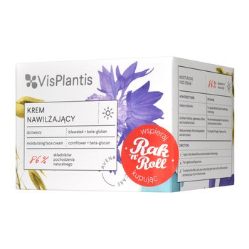 Vis Plantis, nawilżający krem do twarzy na dzień bławatek + beta-glukan, 50 ml