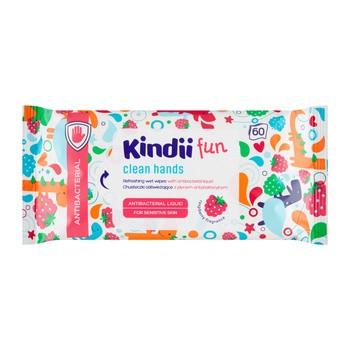 Kindii Fun, chusteczki odświeżające z płynem antybakteryjnym, 60 szt.