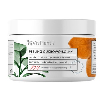 Vis Plantis Herbal Vital Care, peeling cukrowo-solny, ekstrakt z yerba mate + olej monoi, 200 ml