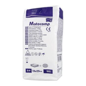 Kompresy gazowe Matocomp, 17-nitkowe, 7,5 x 7,5 cm, 8-warstwowe, 100 szt.