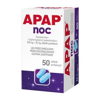 Apap Noc, 500 mg + 25 mg, tabletki powlekane, 50 szt. (butelka)