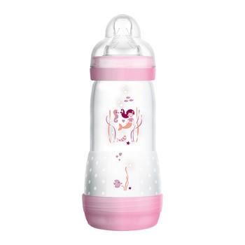 MAM Anti-Colic, butelka antykolkowa 4 m+, szybki przepływ, różowa, 320 ml