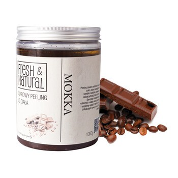 Fresh&Natural, cukrowy peeling do ciała, mokka, 1000 g