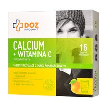 DOZ PRODUCT Calcium + witamina C, tabletki musujące o smaku pomarańczowym, 16 szt.