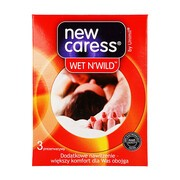 New Caress, Wet N'Wild, prezerwatywy dodatkowo nawilżane, 3 sztuki