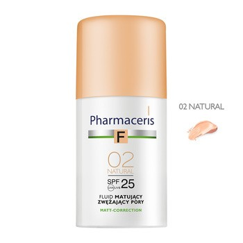 Pharmaceris F, fluid matujący, zwężający pory, Natural 02, SPF 25, 30 ml