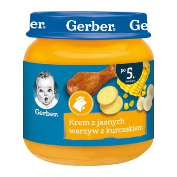 Gerber, krem z jasnych warzyw z kurczakiem, 5 m+, 125 g
