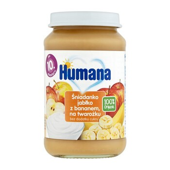 Humana 100% Organic Śniadanko, jabłko z bananem na twarożku, 10m+, 190 g