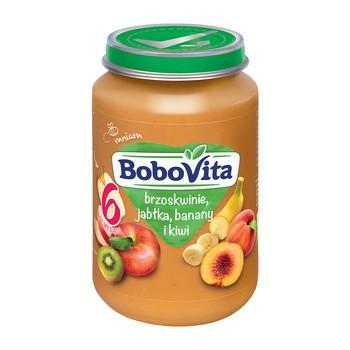BoboVita, deserek brzoskwinie, jabłka, banany i kiwi, 6 m+, 190 g