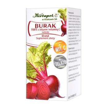 Burak Forte z żelazem i witaminą C, tabletki, 60 szt.