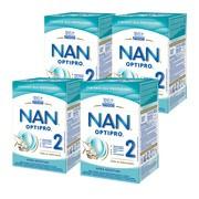 Zestaw 4x Nestle Nan Optipro 2, mleko następne dla niemowląt po 6 miesiącu, 800 g