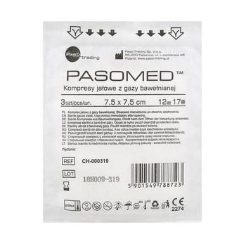 Kompresy gazowe, jałowe, 17-nitkowe, 12-warstwowe, 7,5 x 7,5 cm, 3 szt. (Pasomed)