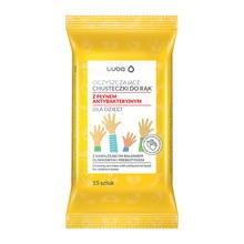 Luba, Nawilżane chusteczki do rąk dla dzieci z płynem antybakteryjnym, 15 szt